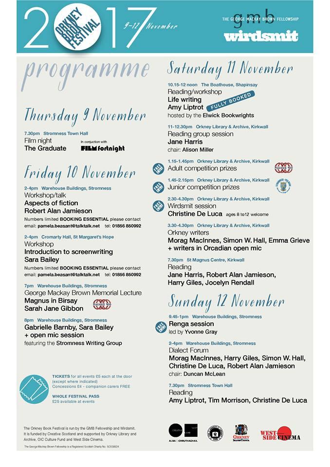 Orkney, book, festival programme, Gabrielle Barnby, romance, mystery,