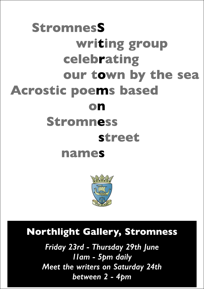 Stromness Writing Group, Per Mare poster, Acrostics, Gabrielle Barnby, Orkney, writer, Oystercatcher Girl,