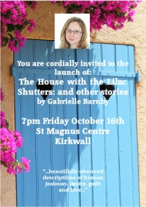 The House With The Lilac Shutters launch invite, Gabrielle Barnby, October 2015
