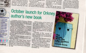 Orcadian, Book launch, The House With The Lilac Shutters, Gabrielle Barnby