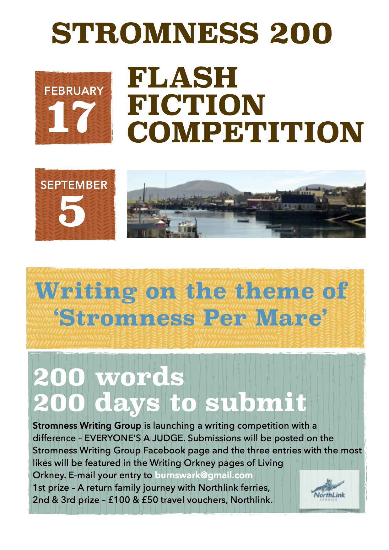Stromness 200, writing group competition, 200 words, flash fiction, Gabrielle Barnby