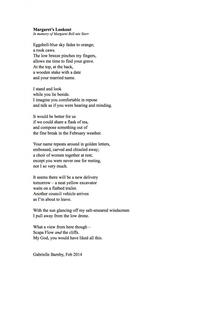 Margaret's Lookout, Margaret Bell Storr, poem, Gabrielle Barnby, Orkney, March