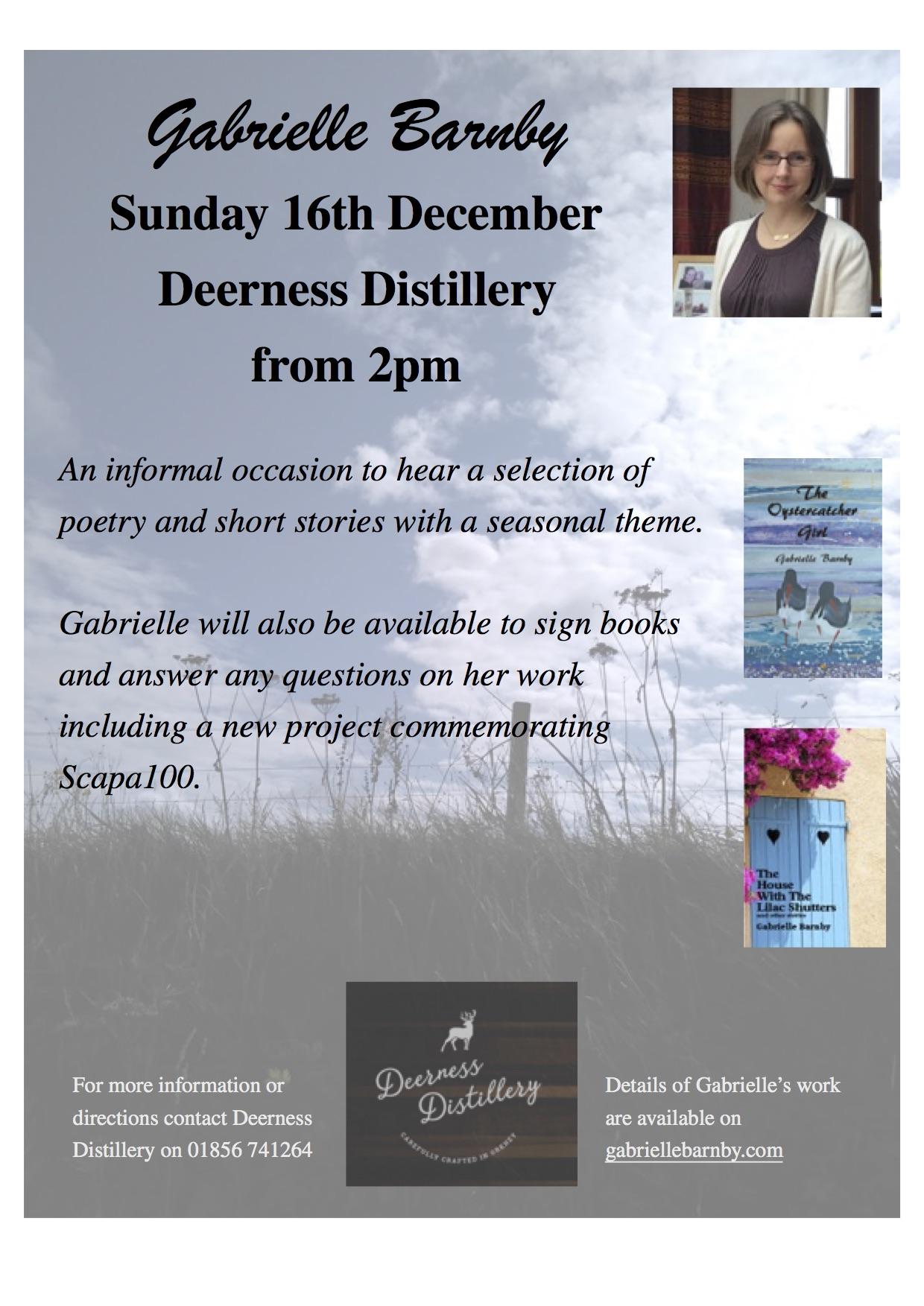Seasonal readings, Deerness Distillery, poems, short stories. Gabrielle Barnby, Orkney