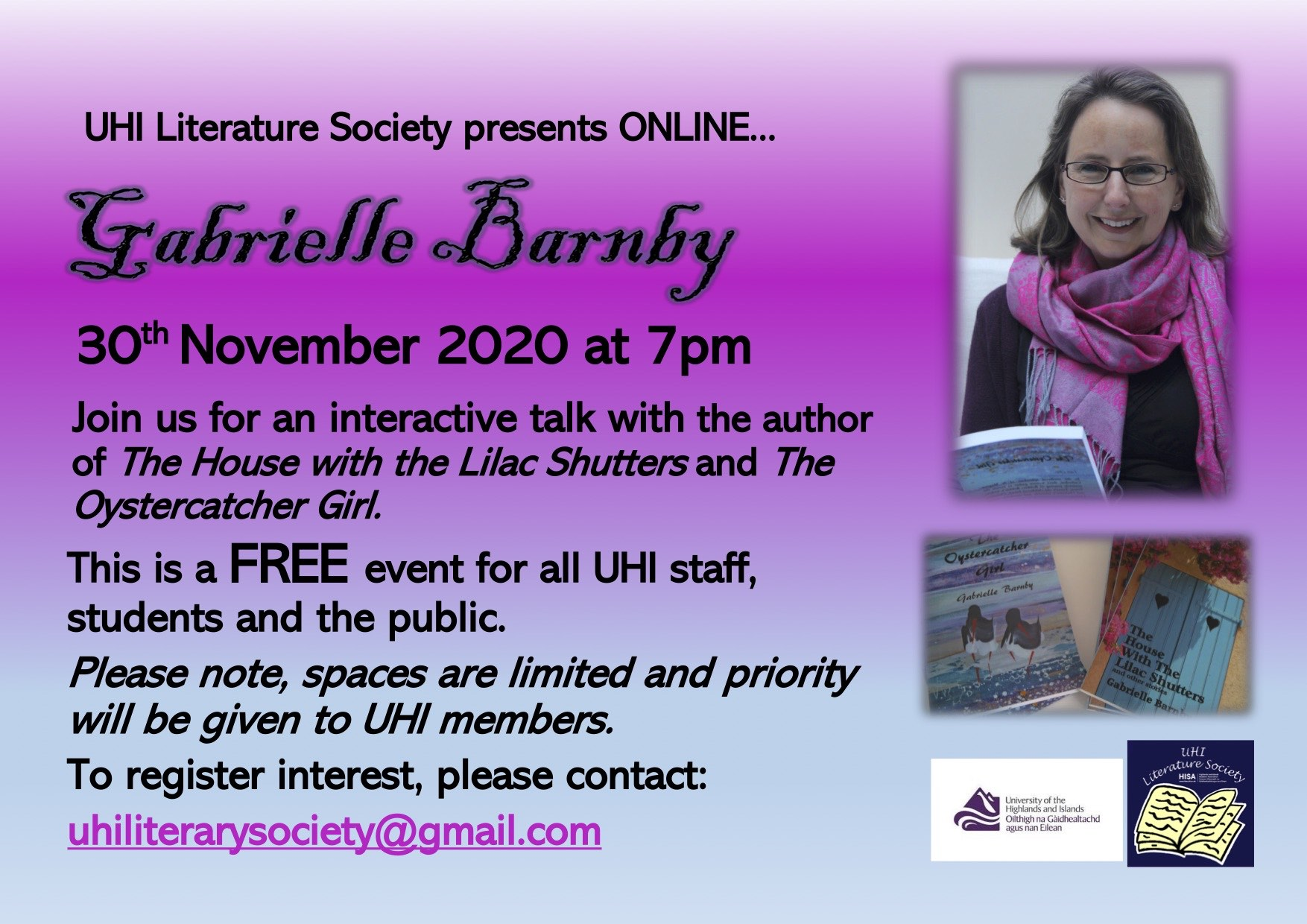 University of the Highlands and Islands, UHI Literature Society, Gabrielle Barnby, workshop, Orkney