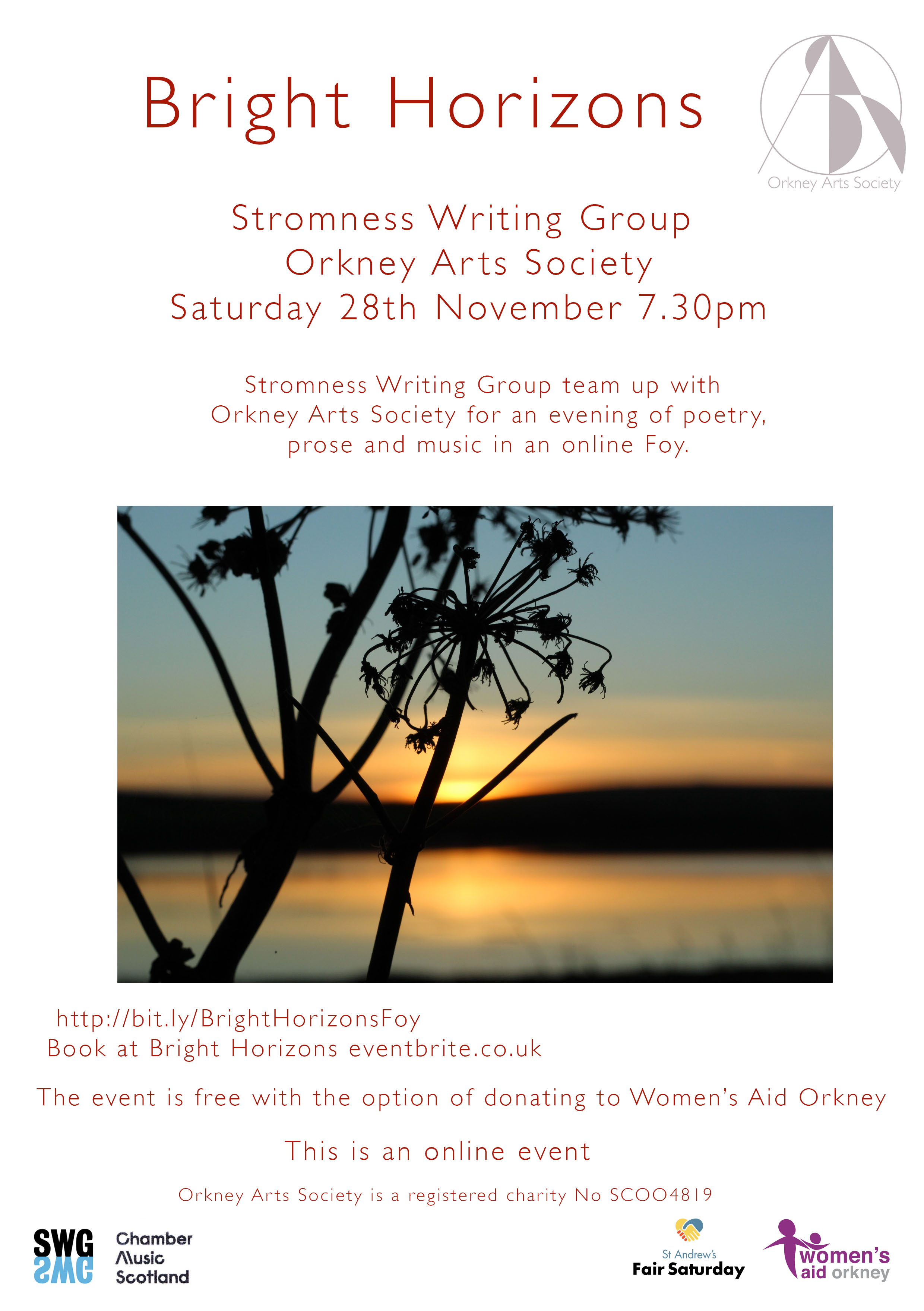 Bright Horizons Foy, poster, Orkney, writing, music, Orkney Arts Society, Stromness Writing Group event.